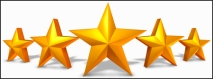 Gold star rating with five golden stars